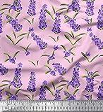 Soimoi Rosa Satin Seide Stoff Blätter & Lavendel