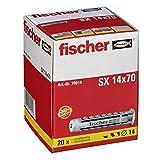 fischer Taco SX Pared, Colgar Cuadros, Fijar lámparas, Gris, 14X70 (20 tacos)