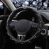 Universale Scintillante Diamante Coprivolante per Auto 38cm/15 Pieno Bling Bling Strass Pelle Coprivolante Interni Auto Car Styling Arredamento Accessori (Crown Black)