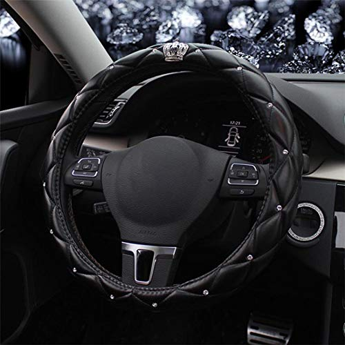 "Universal Sparkly Diamant Auto Lenkradabdeckung 38cm/15"" Voll Bling Bling Strass Leder Lenkradabdeckung Autoinnenraum Auto Styling Dekor Zubehör (Crown black)"