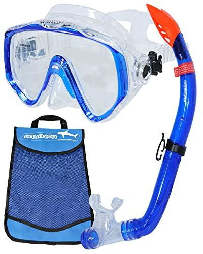 aquazon Ibiza Hochwertiges Schnorchelset, Schnorchelbrille Und Schnorchel, für Erwachsene, Senior, Blau, Farbe:Blue