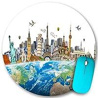 KAPANOU ラウンドマウスパッド カスタムマウスパッド、地球を取り巻く世界の有名なランドマーク「要素」、PC ノートパソコン オフィス用 円形 デスクマット 、ズされたゲーミングマウスパッド 滑り止め 耐久性が 200mmx200mm