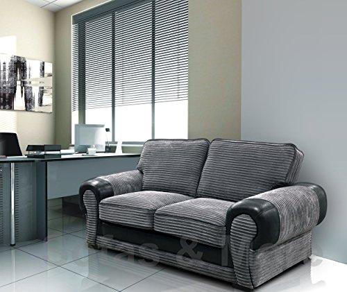 Big Corner Sofa Suite 3+2 Armchair Jumbo Cord Black And Grey (2 Seater)