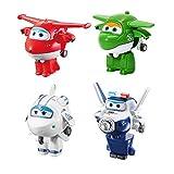 LUNE Super Wings Transform-A-Bots Paquete de 4 | Jett Mira Astra Paul | Figuras de Juguete | Figuras de 2 Pulgadas Robot De Deformación Aeronave Coche Navidad Cumpleaños Año