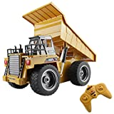 fisca RC Truck 6 Ch 2.4G Alloy Remote Control Dump Truck 4 Wheel Driver Mine Construction Vehicle Toy Machine...