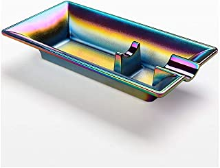 MCGMXG Ashtray Colorful Stainless Steel Home Interior and Exterior Decoration / 159mm × 85mm × 30mm Ashtray