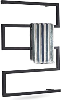 LYWISH Towel Warmer, Wall-Mounted Square Towel Drying Rack, Stainless Steel Electric Heated Towel Rack, 800x600mm,Hardwire