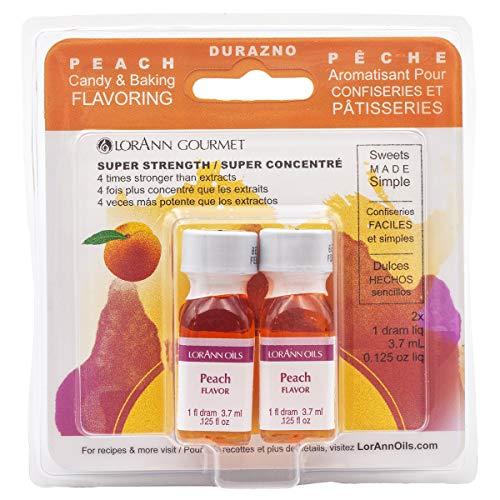 LorAnn Peach Super Strength Flavor, 1 dram bottle (.0125 fl oz - 3.7ml) - Twin pack blistered