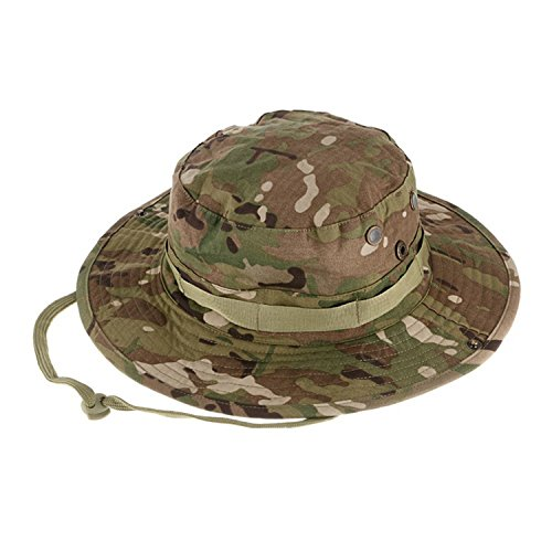 QMFIVE Taktische Boonie Hut, Camouflage Abgerundete Hut Fischer Sonnenschutzkappe für Outdoor Airsoft Paintball Klettern Camping(CP)