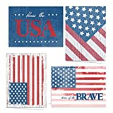 Patriotic Blank All Occasion Greeting Cards / 24 American Flag Note Cards With White Envelopes/USA Military 4 7/8' x 3 1/2' Cards/Made In USA