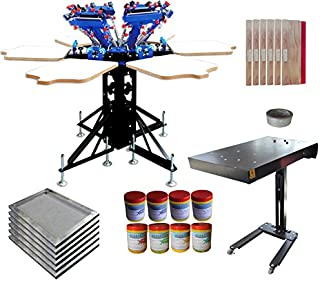 6 Color Screen Printing Press Flash Dryer Screen Printing Kit with Plastisol Ink