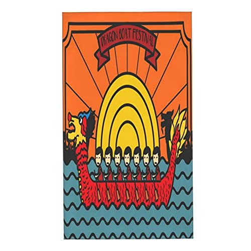 CIKYOWAY Juegos de Toallas Festival del Bote del Dragón Toallas de Mano multipropósito para baño,Manos,Cara,Gimnasio y SPA Absorbente Suave 40x70cm