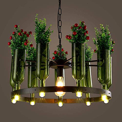 E27 Base G9 Fitting Ceiling Pendant Lights Indoor Decoration Potted Suspension Lamps Personality Restaurant LightCreative Glass Wine Bottle Chandelier Ceiling Lights With Artificial Plant