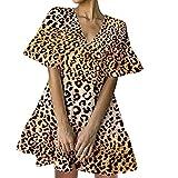 NAQUSHA Mini vestido de lino de algodón para mujer, casual, de moda, color sólido, suelto, cuello en V, manga corta, vestido de playa, vestido de fiesta
