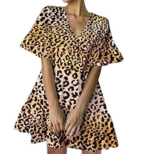 NAQUSHA Mini vestido de lino de algodón para mujer, informal, de color sólido, suelto, con volantes, manga corta, vestido de playa, vestido de fiesta (B-marrón, mediano)