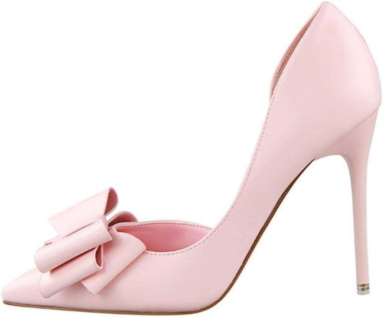 Women Pumps Women's shoes Sweet Bowknot High Heel shoes Side Hollow Pointed Women Sandals
