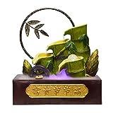 Fuente de Escritorio Feng Shui riqueza de la decoración fuente de agua de la resina de Simulación de bambú polo de la fuente de escritorio con la rueda de hilado y la bola Interior Fuente Pequeño Wate