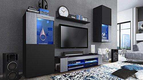 Vladon Conjunto de Muebles de Pared Movie, Cuerpo en Negro Mate/Frentes en Negro Mate y avola Antracita con iluminación LED en Azul