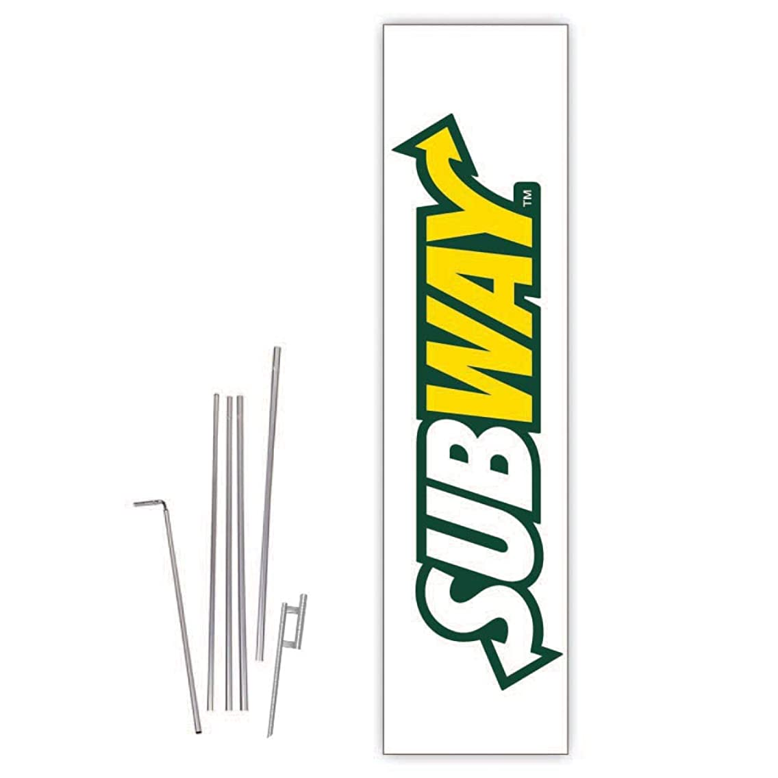 Cobb Promo Subway (White) Rectangle Boomer Flag with Complete 15ft Pole kit and Ground Spike