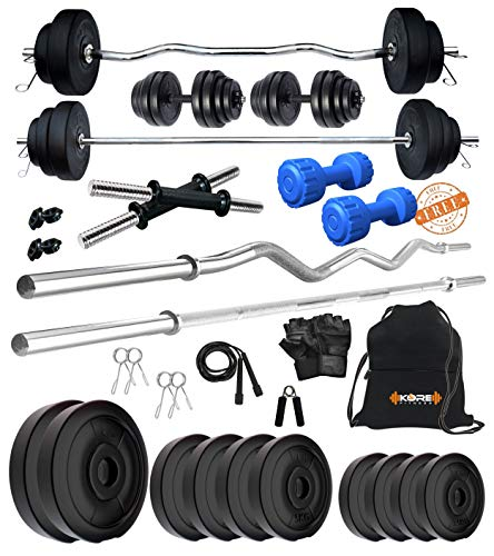 Kore PVC 50 Kg Combo 343 With PVC Dumbbells Home Gym Kit, Multicolour