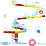 Symiu Badespielzeug Baby Kugelbahn Wasserspielzeug Badespaß Konstruktionsspielzeug mit Wasserrad und Bälle Rennbahn Geschenk Baby Spielzeug für Kinder Junge Mädchenfür ab 3 4 5 Jahren (MEHRWEG)