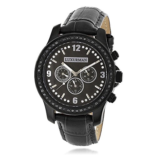 Mens Black Diamond Watch by Raptor 2.25ctw of Diamonds by Luxurman Black MOP and Leather Band