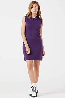 Kadın Yarım Boğazlı Kolsuz Triko Elbise - Mor