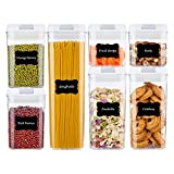 Airtight Food Storage Containers,Vtopmart 7 Pieces BPA Free Plastic Cereal Containers with Easy Lock Lids,for Kitchen Pantry Organization and Storage,Include 24 Free Chalkboard Labels and 1 Marker