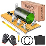 Glass Bottle Cutter Kit, Bottle Cutter DIY Machine with Size Marking for Cutting Round, Square, Oval Bottles and Mason Jars, Accessories Kit Gloves Sandpaper Pencil Glass Cutter for DIY Craft Project