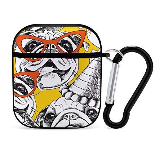 Funda para Airpod, color negro, con gafas y sombrero de fiesta, portátil y a prueba de golpes, para Airpods 2 y 1, con llavero