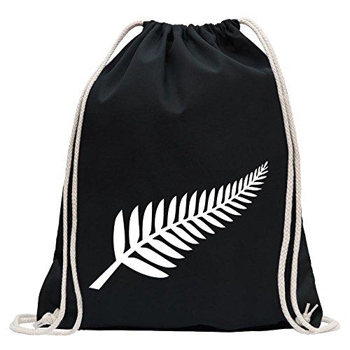 KIWISTAR - Silver Fern / Neuseeland / Kiwis Turnbeutel Fun Rucksack Sport Beutel Gymsack Baumwolle mit Ziehgurt