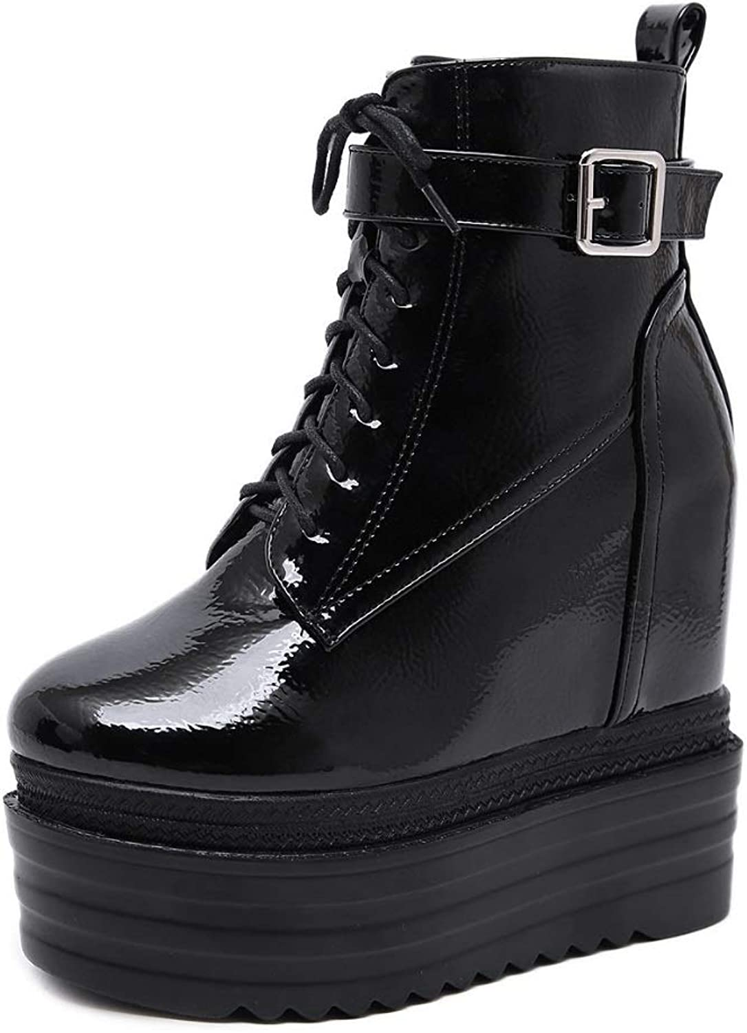Women Ladies Ankle Winter Boots Platform Wedge Boots Hidden 13CM Trainers Boots High Heels Black Warm Fashion Leisure Booties Size Bright Finish PU