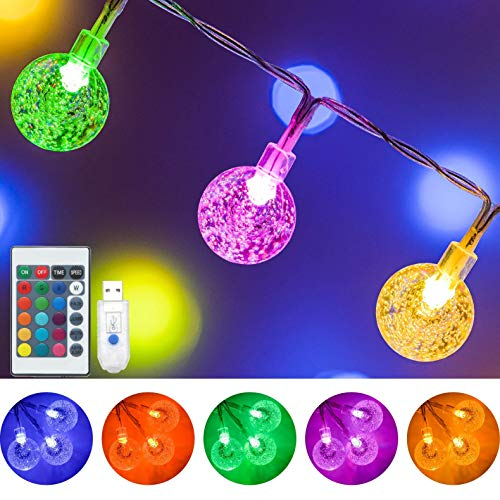 Color Changing Globe String Lights, 16.4Ft 50 LED USB Powered Crystal Ball Fairy String Lights with Remote Control for Girls Bedroom Dorm Room Party Christmas Indoor Outdoor Decorations-16 Colors