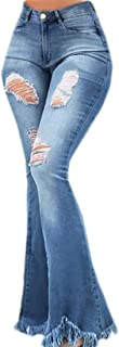 Womens Classic High Waist Destroyed Flare Denim Bell Bottoms Jeans Pants