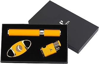 Argent Silver PROMISE by Honest Storm Lighter Briquet /à gaz Allume-Cigare 3 Jet Flames Gas Rechargeable with Cigar Drill