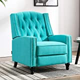 Altrobene Fabric Push Back Recliner Chair for Adult Accent Tufted Armchair for Living Room, Bedroom, Office, Caribbean Blue