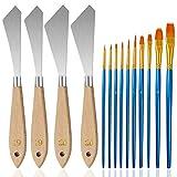FineGood Juego de 4 cuchillos de paleta con pinceles de pintura, juego de cuchillos de pintura de acero inoxidable, espátula de pintura al óleo para artistas principiantes