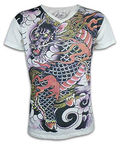 Ako Roshi Camiseta Hombre Dragón Rojo Talla M L XL Japón Artes Marciales Tatuaje Irezumi Endriago...