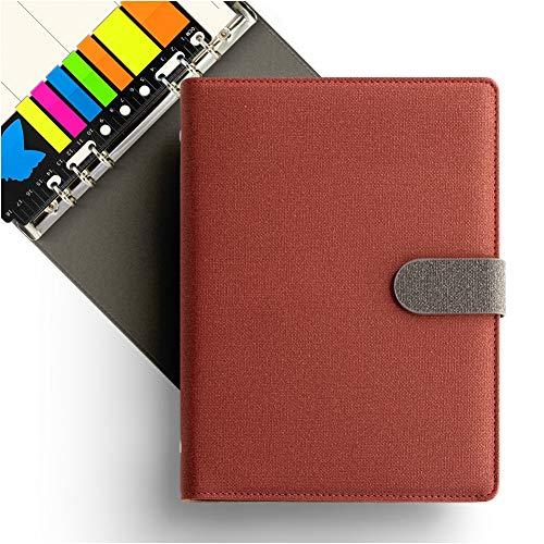 KKDragon A5 Notitieboek 6 Gat Ring Binder + Sticky Memo Notes + Week Plan en Ruled Lines Ivoor Wit Gekleurd Papier, Doek Textuur PU Rood, Contrast Kleur Ontwerp, 80 Bladen/160 Pagina's