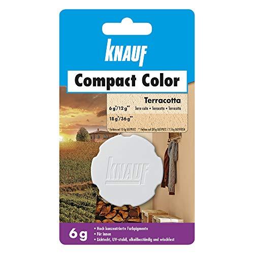 Knauf Compact Colors Farb-Pigmente – Pigment-Pulver zum Einfärben von Putz, nicht staubend, hoch konzentriert und wischfest, Terracotta, 6-g