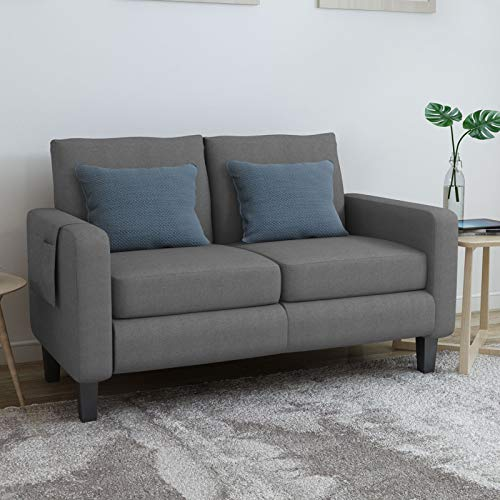 Mecor Modern Loveseat Sofa Linen Fabric 2-Seat Couch w/Thick Cushion and Deep Seat Mid-Century Upholstered Accent Arm Sofa Love Seat for for Living Room, Office, Bedroom, Apartment, Small Space