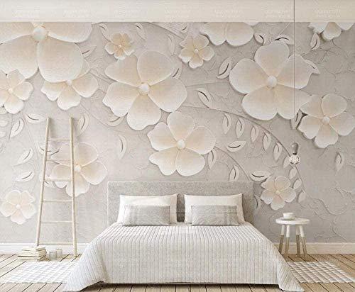 Murale effetto 3D carta da parati non tessuta con fiore in rilievo beige Carta da parati fotomurali poster murale Soggiorno camera letto minimalista tv sfondo-300cm×210cm