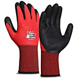 FWPP 6-Pairs Nitrile Coated Work Gloves, Oil Resistant Gardening Gloves for Men and Women, Firm Grip for Construction (Size M Red GN006002)