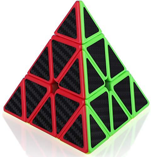 TOYESS Cubo Pyraminx 3x3x3, Piramide Cubo de Velocidad Fibra de Carbono Rompecabezas Puzzles 3D para Niño Adultos