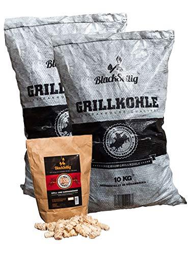 BlackSellig 20 kg Steakhousekohle Gastrosack - perfekte Profiqualität Plus 50 Stück Grill- und Kaminanzünder