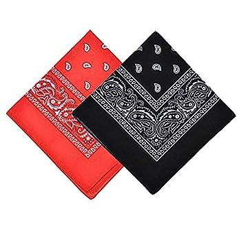 "2 Pack Bandanas for Men & Women Novelty Print Paisley Bandana Headband Scarf Handkerchiefs Wristband Cowboy Neckerchief Head Wrap Face Mask Gift Sets Red and Black 21.2"" X 21.2"""