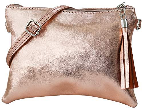 SH Leder Echtleder Umhängetasche Clutch kleine Tasche Abendtasche 22x15cm Anny G248 (Rose gold)