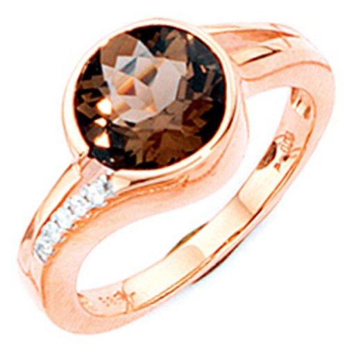 Anillo de oro rosa Gold Ring cuarzo ahumado brillantes 585 Gold Finger para mujer