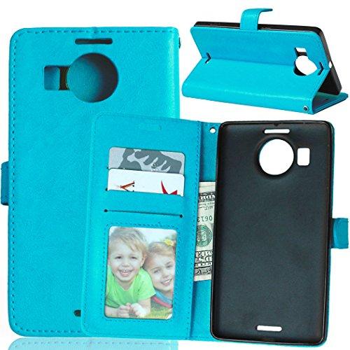 Telefono Caso per Nokia Microsoft Lumia 950XL ,PU Custodia In Pelle 3 Carte Slot Credito Flip Cover Case Chiusura Magnetica-Blu