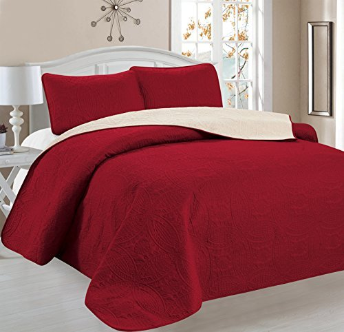 Home Sweet Home Victoria Design Reversible 3 PC Quilt Bedspread Sets (Full/Queen, Burgundy/Beige) by Home Sweet Home Dreams Inc